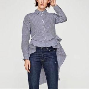 Zara Pinstripe High Low Button Down Shirt S